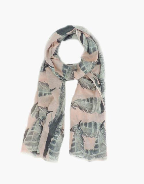 KDK pink feather print scarf