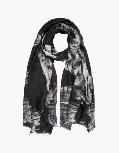 KDK black feather print scarf