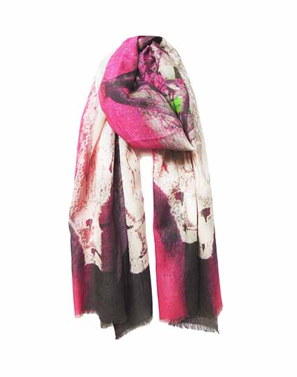 KDK pink cottages print scarf