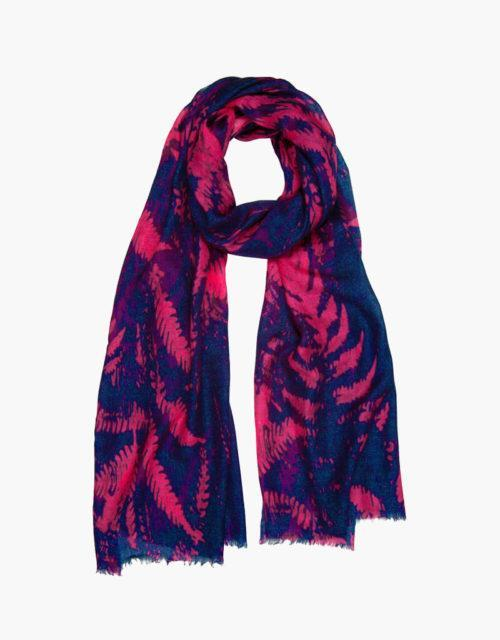 navy and pink forest print scarf
